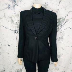 Kasper Black Pinstripe One Button Blazer Size 8